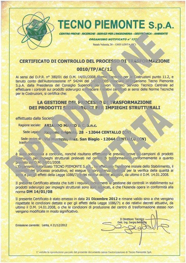 Certificato ACCIAIO