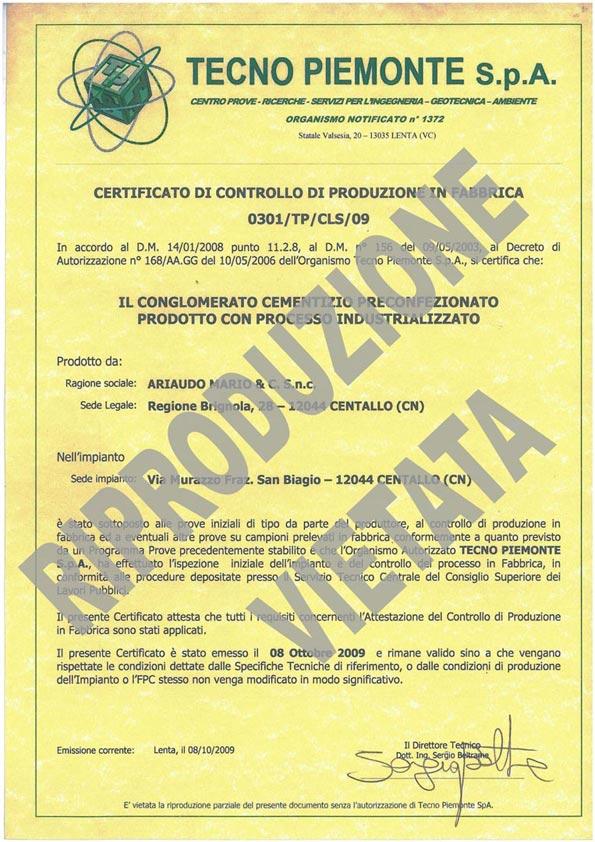 Certificato CONGLOMERATO CEMENTIZIO