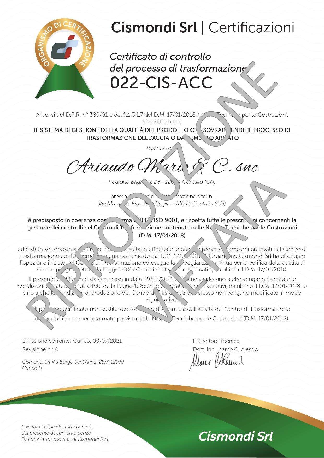Certificato TRASFORMAZIONE ACCIAIO