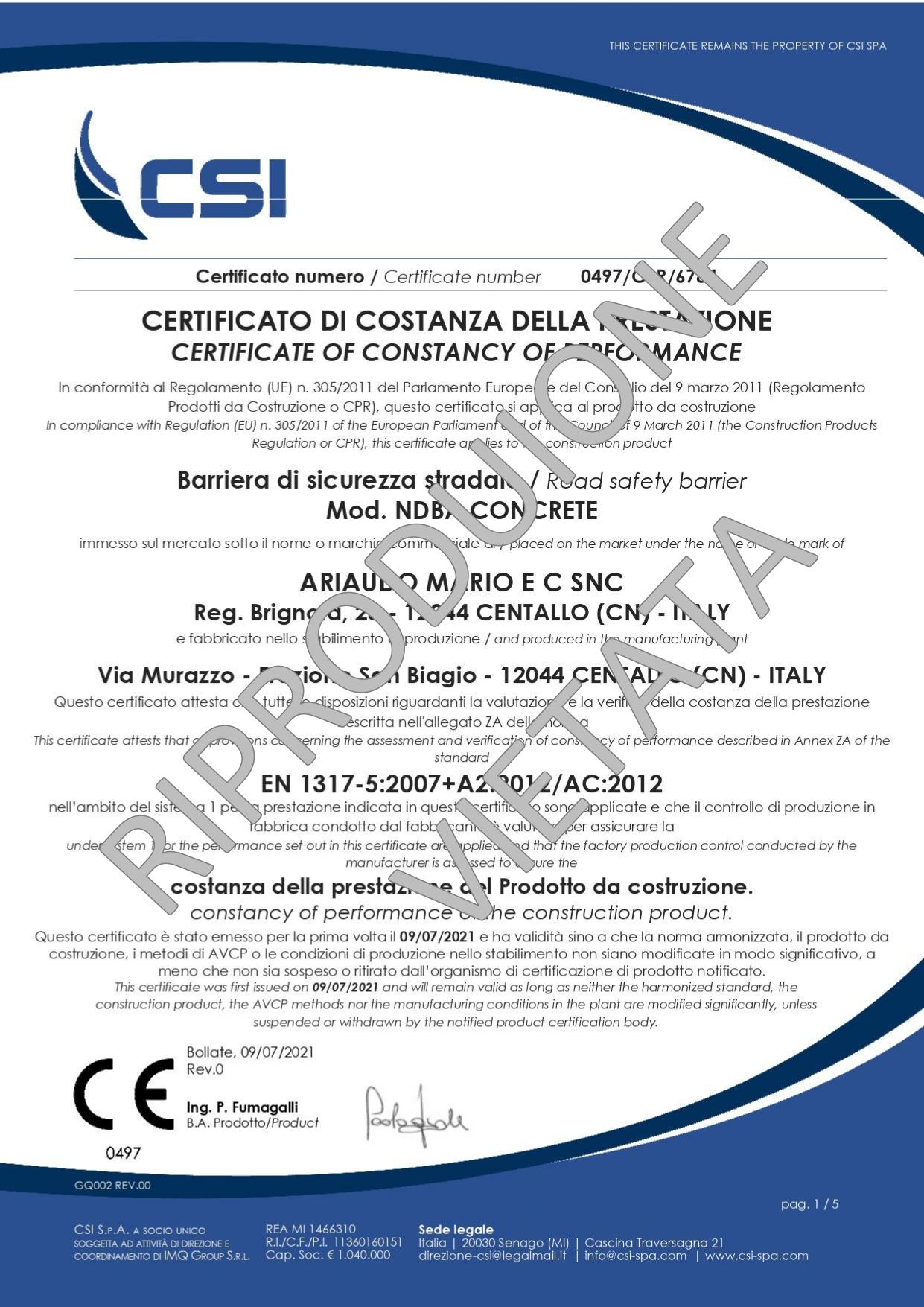 Certificato PREFABBRICATI